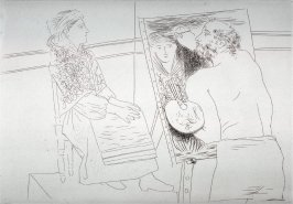 Peintre chauvre devant son chavalet (Bald Painter in Front of his Easel), pl. 6 from the set of etchings accompanying the book, Le chef-d'oeuvre inconnu (The Unknown Masterpiece) by Honoré Balzac (Paris: Ambroise Vollard, 1931)