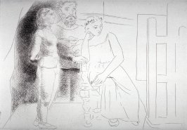 Peintre entre deux modeles (Painter between Two models), pl. 2 from the set of etchings accompanying the book, Le chef-d'oeuvre inconnu (The Unknown Masterpiece) by Honoré Balzac