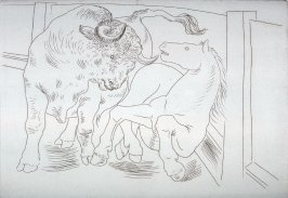 Taureau et cheval (Bull and Horse), pl. 3 from the set of etchings accompanying the book, Le chef-d'oeuvre inconnu (The Unknown Masterpiece) by Honore Balzac (Paris: Ambroise Vollard, 1931)