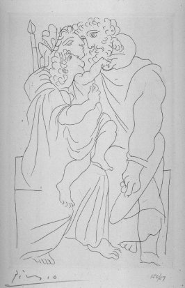 Couple et enfant (Couple and child), pl. 2, from the book Lysistrata by Aristophanes (New York: Limited Edition Club, 1934)