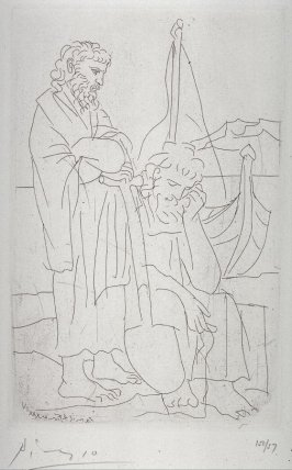 Deux vieillards et voilier (Two old men and a sailboat), pl.4, from the book Lysistrata by Aristophanes (New York: Limited Edition Club, 1934)