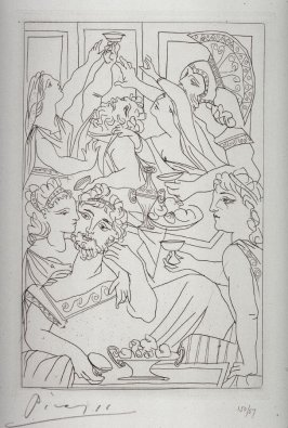 Le festin (The banquet), pl. 6, from the book Lysistrata by Aristophanes (New York: Limited Edition Club, 1934)