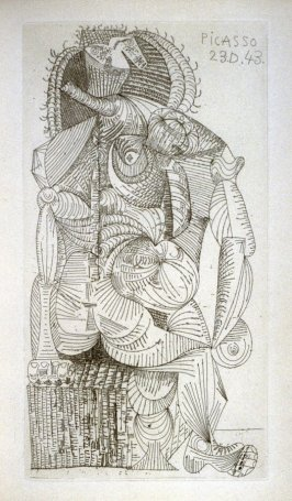 """""""Femme assise"""" (Seated Woman), frontispiece to the book, Contrée (Land), by Robert Desnos (Paris: Robert-J. Godet, 1944)"""