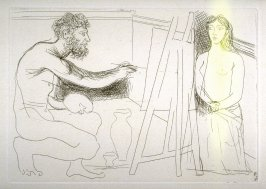 Peintre devant son chevalet (Painter in Front of His Easel), pl. 12 from the set of etchings accompanying the book Le chef-d'oeuvre inconnu (The Unknown Masterpiece) by Honoré Balzac