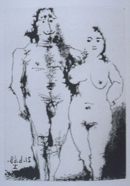 Couple nu posant (Nude Couple Posing), illustration XXIII for page 98 in the book La Célestine by Fernando de Rojas (Paris: Editions de l'Atelier Crommelynck, 1971)
