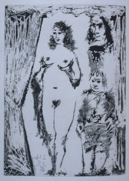 Couple et petit valet en cadrés par une portière (Couple and small valet framed by a door), illustration XXII for page 92 in the book La Célestine by Fernando de Rojas (Paris: Editions de l'Atelier Crommelynck, 1971)