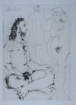 Homme nu assis en tailleur, et deux femmes (Nude Man Sitting Cross-legged and Two Women), iIllustration XIII for page 50 in the book La Célestine by Fernando de Rojas (Paris: Editions de l'Atelier Crommelynck, 1971)