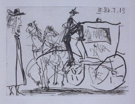 Couple en carosse et pauvre piéton (Couple in a Carriage with a Poor Pedestrian), illustration V for page 21 in the book La Célestine by Fernando de Rojas (Paris: Editions de l'Atelier Crommelynck, 1971)