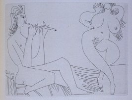 Flûtiste grec et danseuse (Greek Flutist and Dancer), illustration LII for page 229 in the book La Célestine by Fernando de Rojas (Paris: Editions de l'Atelier Crommelynck, 1971)