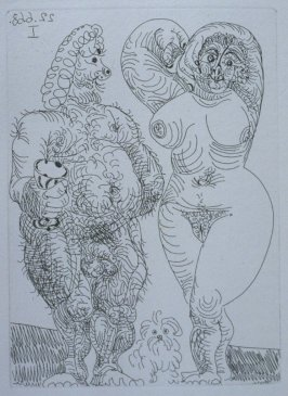 Gros couple, et petit chien, poilus (Fat Couple and a Small, Hairy Dog), illustration LI for page 226 in the book La Célestine by Fernando de Rojas (Paris: Editions de l'Atelier Crommelynck, 1971)