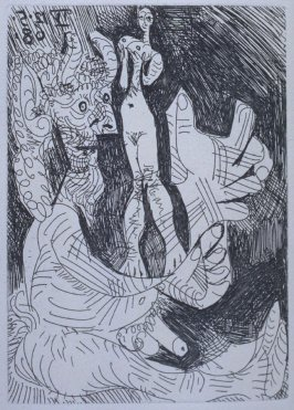 Vieux faun avec une poupée vivante (Old Faun with a Living Doll), illustration XLVII for page 208 in the book La Célestine by Fernando de Rojas (Paris: Editions de l'Atelier Crommelynck, 1971)