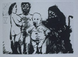 Petit vieux flatté par le Célestine (Small Old Man Flattered by Célestine), illustration XLVI for page 203 in the book La Célestine by Fernando de Rojas (Paris: Editions de l'Atelier Crommelynck, 1971)