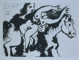 Enlèvement, à cheval (Abduction on Horseback), illustration XLIV for page 195 in the book La Célestine by Fernando de Rojas (Paris: Editions de l'Atelier Crommelynck, 1971)