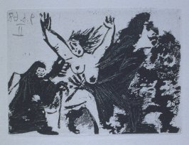 Enlèvement, à pied, avec la Célestine (Abduction on Foot with Célestine), illustration XLIII for page 191 in the book La Célestine by Fernando de Rojas (Paris: Editions de l'Atelier Crommelynck, 1971)