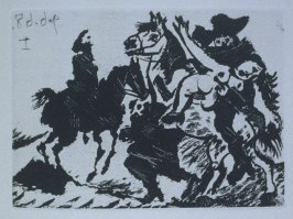 Reître enlevant une femme pour le compte d'un cavalier (Thuggish Soldier Abducting a Woman on behalf of a Cavalier), illustration XLII for page 187 in the book La Célestine by Fernando de Rojas (Paris: Editions de l'Atelier Crommelynck, 1971)