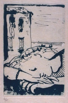 """Marie -Thérèse endormie au bord de la mer (Marie-Therese sleeping at the seaside),"" hors text with the book La barre d'appui (The Handrail) by Paul Eluard (Paris: Editions ""Cahiers d'Art,"" 1936)"