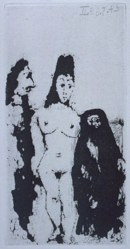 (Célestine, maja, et complice masculin (Célestine, Maja, and a Male Accomplice), illustration LXIV for page 276 in the book La Célestine by Fernando de Rojas (Paris: Editions de l'Atelier Crommelynck, 1971)