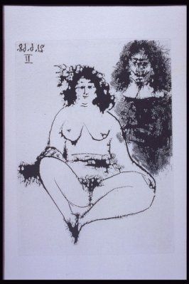 "Grosse prostituée et ""mousquetaire"" (Fat Prostitute and Musketeer), illustration LXII for page 268 in the book La Célestine by Fernando de Rojas (Paris: Editions de l'Atelier Crommelynck, 1971)"