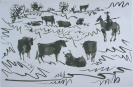 Toros en el campo (Bulls in the Countryside), pl. I in the book La Tauromaquia (Bullfighting) by José Delgado alias Pepe Illo (Barcelona: Editorial Gustavo Gili, S.A./Ediciones de la Cometa, 1959)