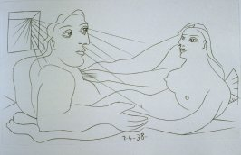 """Couple"", illustration in the book Afat (Sadness/Beautiful Woman) by Iliazd (Ilia Zdanevitch) (Paris: Le Degré Quarante et Un, 1940)"
