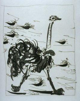 """L'autruche (The Ostrich),"" in the book Histoire naturelle: Picasso eaux-fortes originales pour les textes de Buffon (Picasso's Original Etchings for Buffon's Text) (Paris: Martin Fabiani, 1942)"