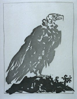 """Le vautour (The vulture),"" in the book Histoire naturelle: Picasso eaux-fortes originales pour les textes de Buffon (Picasso's Original Etchings for Buffon's Text) (Paris: Martin Fabiani, 1942)"