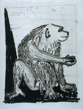 """Le singe (The Monkey),"" in the book Histoire naturelle: Picasso eaux-fortes originales pour les textes de Buffon (Picasso's Original Etchings for Buffon's Text) (Paris: Martin Fabiani, 1942)"