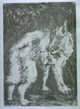 """Le loup (TheWolf),"" in the book Histoire naturelle: Picasso eaux-fortes originales pour les textes de Buffon (Picasso's Original Etchings for Buffon's Text) (Paris: Martin Fabiani, 1942)"