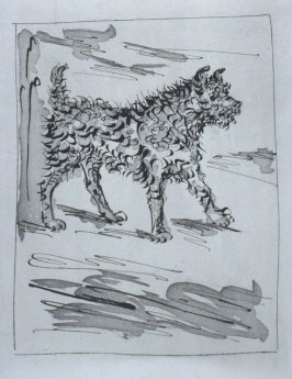 """Le chien (The Dog),"" in the book Histoire naturelle: Picasso eaux-fortes originales pour les textes de Buffon (Picasso's Original Etchings for Buffon's Text) (Paris: Martin Fabiani, 1942)"