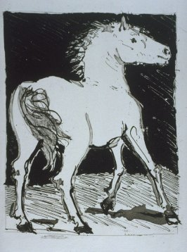 """Le cheval (The Horse),"" in the book Histoire naturelle: Picasso eaux-fortes originales pour les textes de Buffon (Picasso's Original Etchings for Buffon's Text) (Paris: Martin Fabiani, 1942)"
