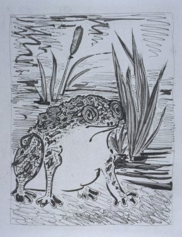 """Le crapaud (The Toad ),"" in the book Histoire naturelle: Picasso eaux-fortes originales pour les textes de Buffon (Picasso's Original Etchings for Buffon's Text) (Paris: Martin Fabiani, 1942)"