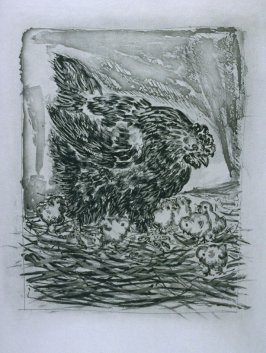 """Le mère poule (Mother Hen),"" in the book Histoire naturelle: Picasso eaux-fortes originales pour les textes de Buffon (Picasso's Original Etchings for Buffon's Text) (Paris: Martin Fabiani, 1942)"