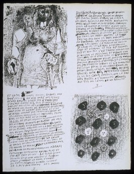Untitled, pgs. 2-3, in the book Poèmes et lithographies by Pablo Picasso (Paris: Galerie Louise Leiris, 1954).