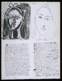 Untitled, pgs. 5-6, in the book Poèmes et lithographies by Pablo Picasso (Paris: Galerie Louise Leiris, 1954).