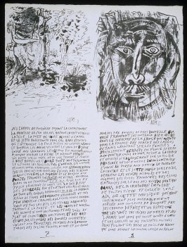 Untitled, pgs. 7-8, in the book Poèmes et lithographies by Pablo Picasso (Paris: Galerie Louise Leiris, 1954).