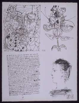 Untitled, pg. 9, in the book Poèmes et lithographies by Pablo Picasso (Paris: Galerie Louise Leiris, 1954).