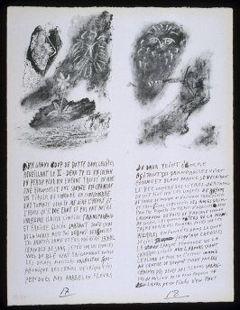 Untitled, pgs. 17-18, in the book Poèmes et lithographies by Pablo Picasso (Paris: Galerie Louise Leiris, 1954).