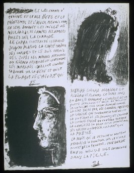 Untitled, pgs. 25-26, in the book Poèmes et lithographies by Pablo Picasso (Paris: Galerie Louise Leiris, 1954).