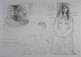 """Peintre ramassant son pinceau, avec un modèle au turban"" (Painter Picking up His Paintbrush, with a model in a turban), pl. 8 from the set of etchings accompanying the book, Le chef-d'oeuvre inconnu (The Unknown Masterpiece) by Honoré Balzac (Paris: Ambr"