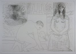 """Peintre ramassant son pinceau, avec un modèle au turban"" (Painter Picking up His Paintbrush, with a model in a turban), pl. 7 from the set of etchings accompanying the book, Le chef-d'oeuvre inconnu (The Unknown Masterpiece) by Honoré Balzac (Paris: Ambr"