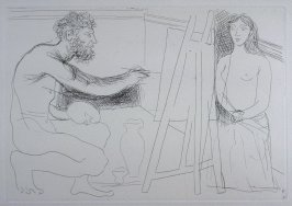 """Peintre devant son chevalet, avec un modèle aux longs cheveux (Painter in Front of His Easel, with nude model), pl. 13 from the set of etchings accompanying the book Le chef-d'oeuvre inconnu (The Unknown Masterpiece) by Honoré Balzac"