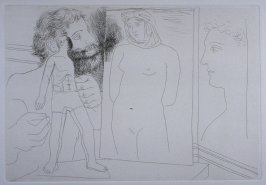 """Sculpteur avec sculpture et d'autres œuvres "" (Sculptor with sculpture, with nude and head), pl. 5 from the set of etchings accompanying the book, Le chef-d'oeuvre inconnu (The Unknown Masterpiece) by Honoré Balzac (Paris: Ambroise Vollard, 1931)"