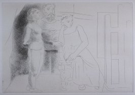 """Peintre avec deux modèles regardant une toile"" (Painter between two models looking at an easle), pl. 2 from the set of etchings accompanying the book, Le chef-d'oeuvre inconnu (The Unknown Masterpiece) by Honoré Balzac"