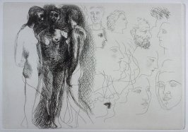 """'Trois nus debout, avec esquisses de visages"""" (Three Standing Nudes, with sketches of heads), pl. 10 from the set of etchings accompanying the book, Le chef-d'oeuvre inconnu (The Unknown Masterpiece) by Honoré Balzac (Paris: Ambroise Vollard, 1931)"""