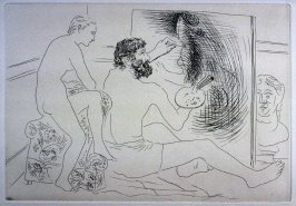 """Peintre au travail observé par un modèle nu"" (Painter at work, observed by his nude model), pl. 9 from the set of etchings accompanying the book, Le chef-d'oeuvre inconnu (The Unknown Masterpiece) by Honoré Balzac (Paris: Ambroise Vollard, 1931)"