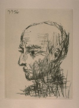 Portrait de Max Jacob, loose plate in the suite of prints separate from the book, Chroniques des temps héroïques (Chronicle of Heroic Times), by Max Jacob (Paris: Louis Broder, 1956)