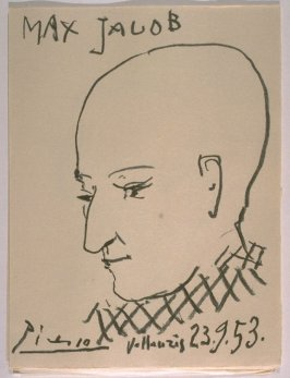 Portrait of Max Jacob, loose plate in the suite of prints separate from the book, Chroniques des temps héroïques (Chronicle of Heroic Times), by Max Jacob (Paris: Louis Broder, 1956)
