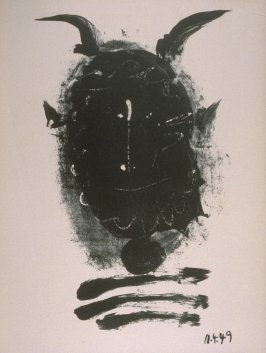 """Black mask with horns"" in the book Elegy of Ihpetonga and Masks of Ashes by Yvan Goll (translated by Babette Deutsch, Louise Bogan and Claire Goll) (New York: The Noonday Press, 1954)."