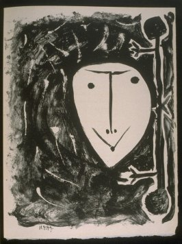 """""""Female mask"""" in the book Elegy of Ihpetonga and Masks of Ashes by Yvan Goll (translated by Babette Deutsch, Louise Bogan and Claire Goll) (New York: The Noonday Press, 1954)."""
