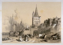 """Entrance Gate and Church of St. Martin, Cologne from Stanfield, Clarkson """"Sketches on the Moselle, the Rhine and the Meuse"""""""